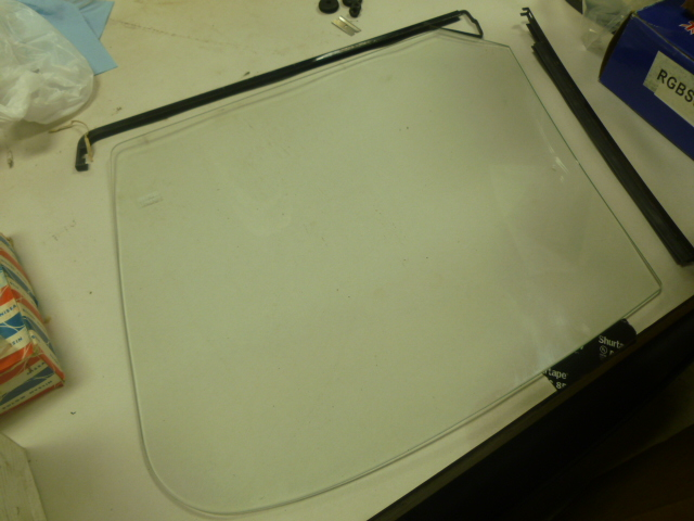 Side glass to be installed in the Austin-Healey.